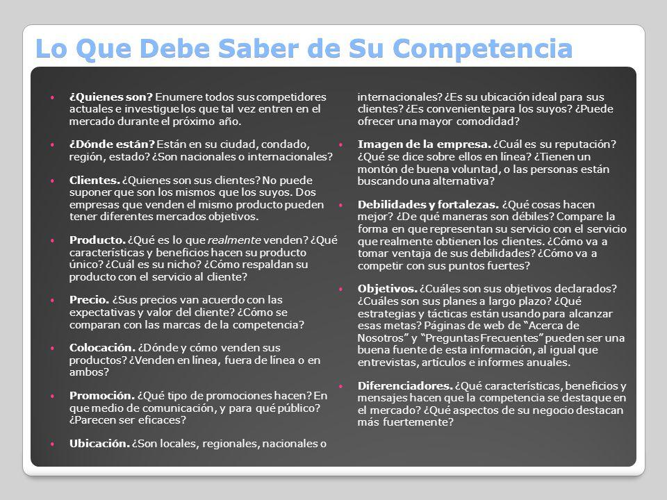 Lo Que Debe Saber de Su Competencia ¿Quienes son? Enumere todos sus competidores actuales e investigue los que tal vez entren en el mercado durante el