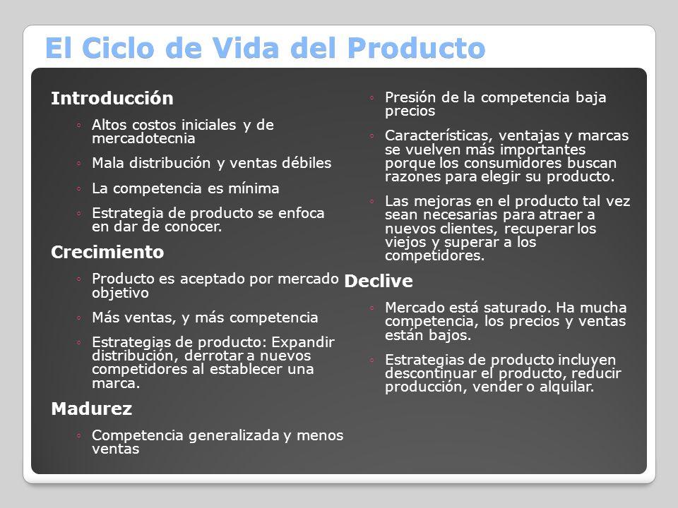 El Ciclo de Vida del Producto Introducción Altos costos iniciales y de mercadotecnia Mala distribución y ventas débiles La competencia es mínima Estra