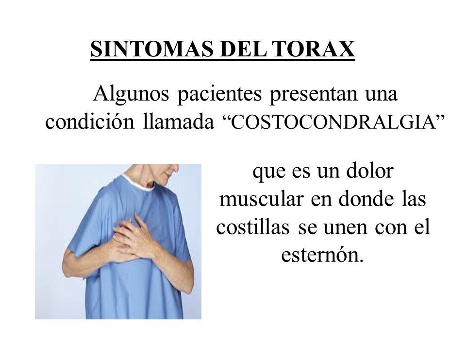 SINTOMAS DEL TORAX Algunos pacientes presentan una condición llamada COSTOCONDRALGIA que es un dolor muscular en donde las costillas se unen con el es