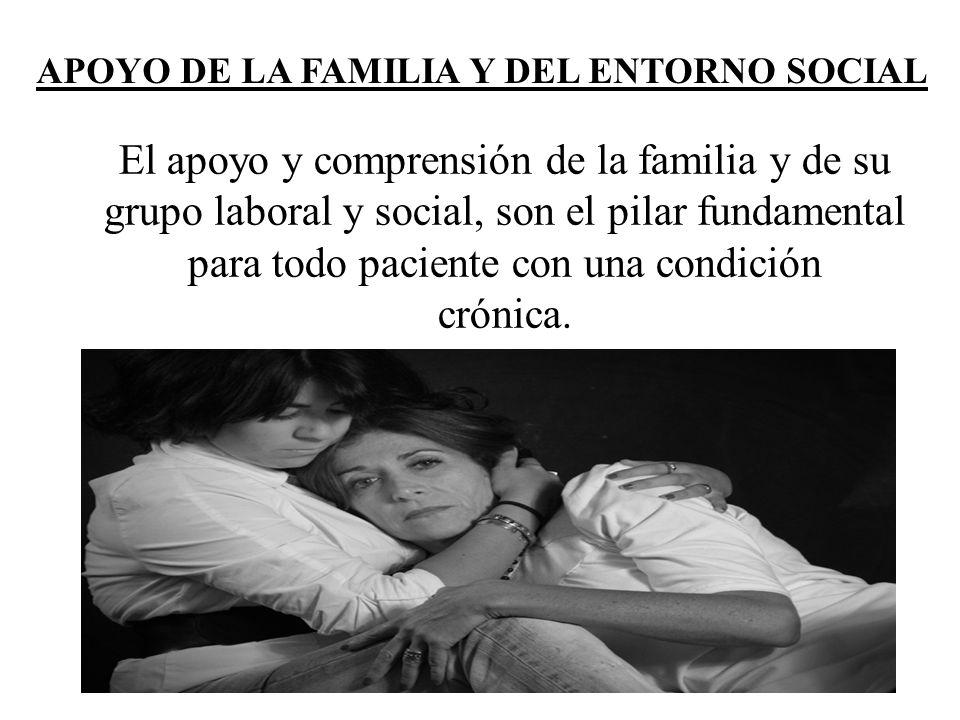APOYO DE LA FAMILIA Y DEL ENTORNO SOCIAL El apoyo y comprensión de la familia y de su grupo laboral y social, son el pilar fundamental para todo pacie