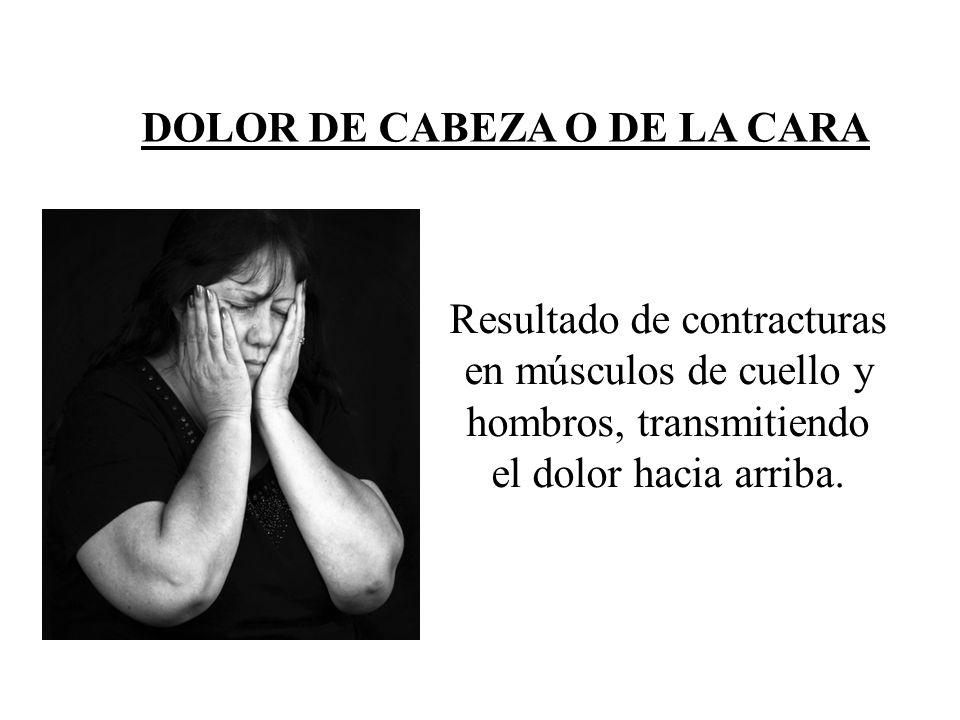DOLOR DE CABEZA O DE LA CARA Resultado de contracturas en músculos de cuello y hombros, transmitiendo el dolor hacia arriba.