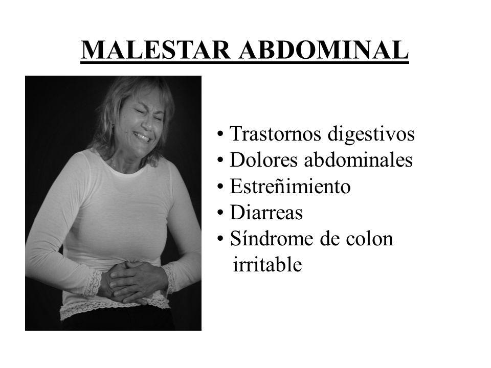 MALESTAR ABDOMINAL Trastornos digestivos Dolores abdominales Estreñimiento Diarreas Síndrome de colon irritable