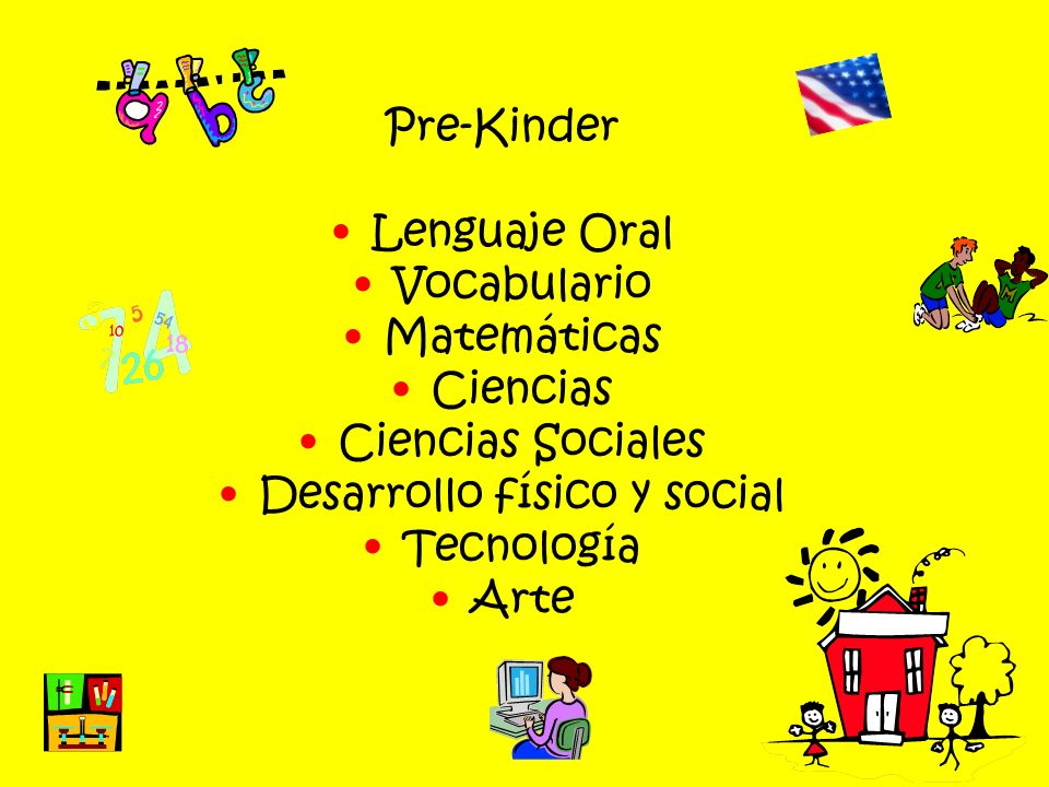 Pre-Kinder Lenguaje Oral Vocabulario Matemáticas Ciencias Ciencias Sociales Desarrollo físico y social Tecnología Arte