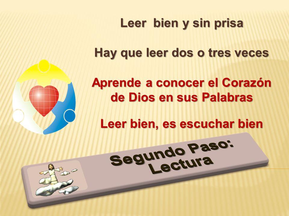 Leer bien y sin prisa Hay que leer dos o tres veces Aprende a conocer el Corazón de Dios en sus Palabras Leer bien, es escuchar bien