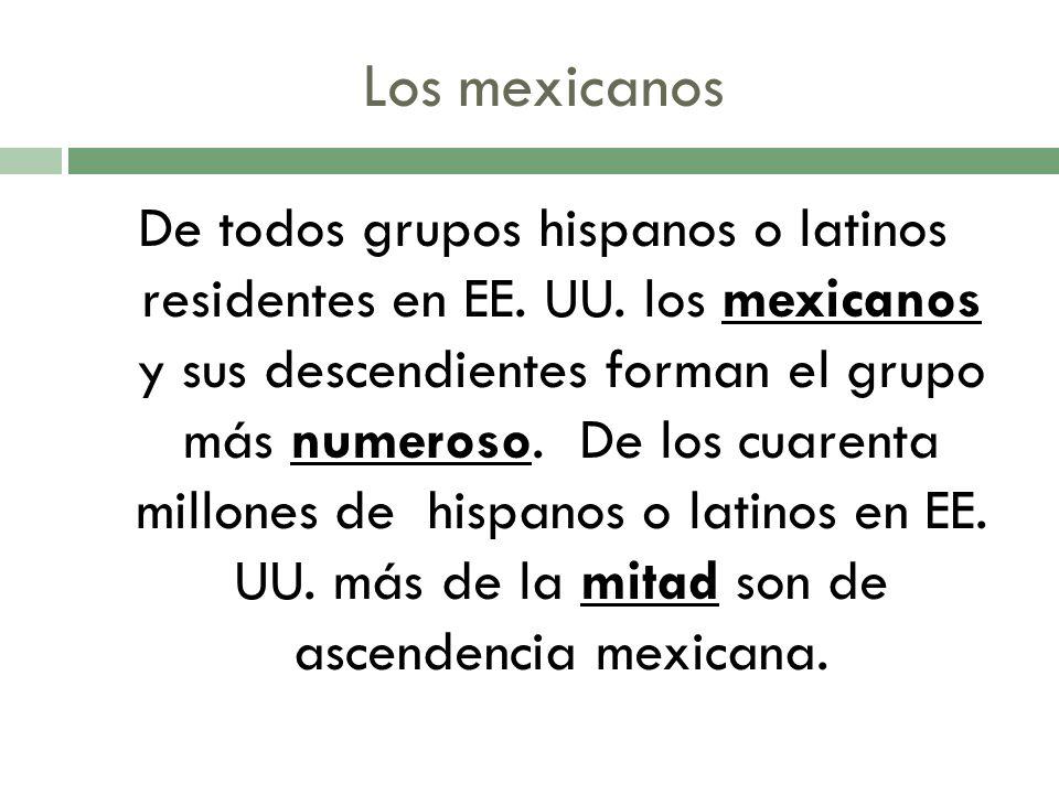 Los mexicanos De todos grupos hispanos o latinos residentes en EE.