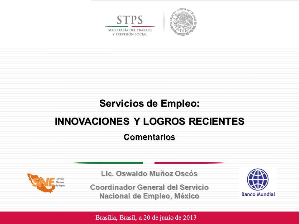 Brasilia, Brasil, a 20 de junio de 2013 Servicios de Empleo: INNOVACIONES Y LOGROS RECIENTES Comentarios Lic.
