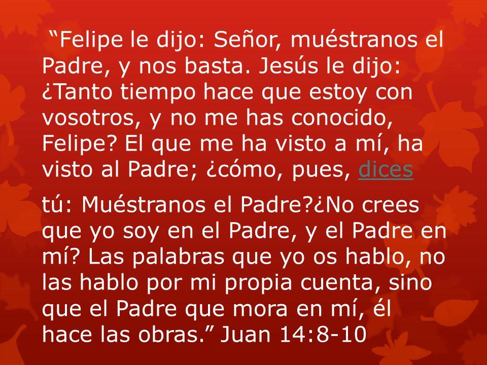 Felipe le dijo: Señor, muéstranos el Padre, y nos basta. Jesús le dijo: ¿Tanto tiempo hace que estoy con vosotros, y no me has conocido, Felipe? El qu