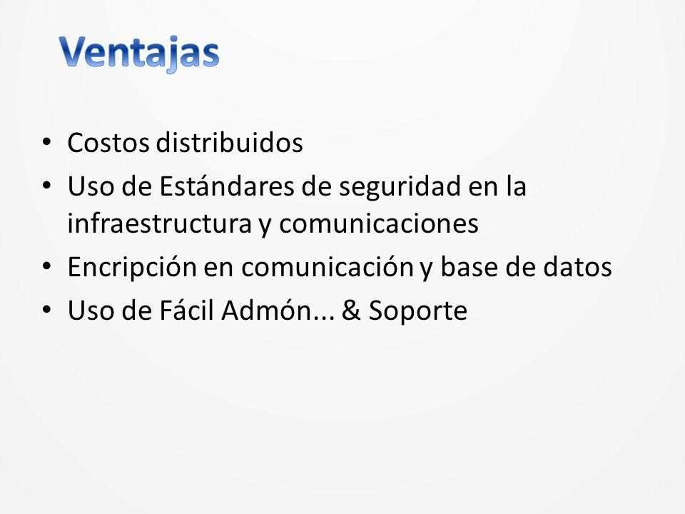 Costos distribuidos Uso de Estándares de seguridad en la infraestructura y comunicaciones Encripción en comunicación y base de datos Uso de Fácil Admón...