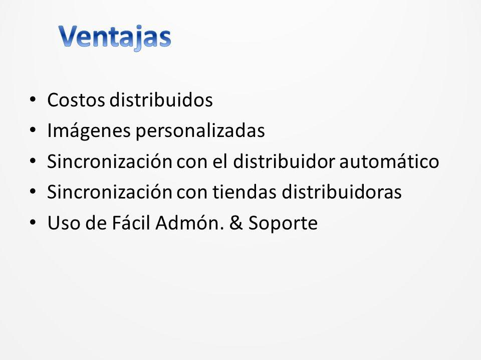 Costos distribuidos Imágenes personalizadas Sincronización con el distribuidor automático Sincronización con tiendas distribuidoras Uso de Fácil Admón.