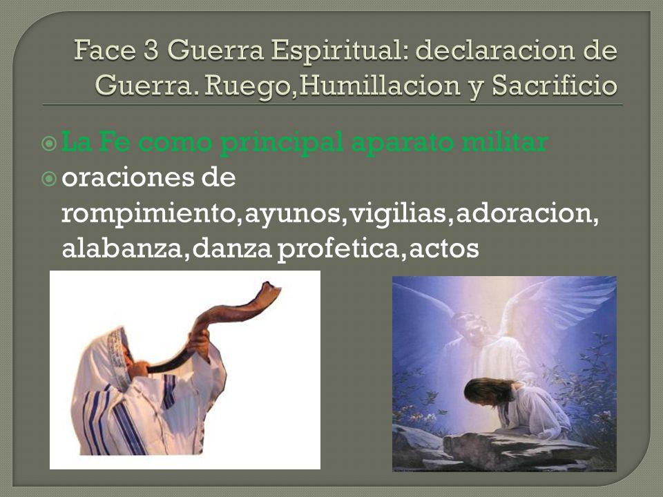 La Fe como principal aparato militar oraciones de rompimiento,ayunos,vigilias,adoracion, alabanza,danza profetica,actos profeticos.