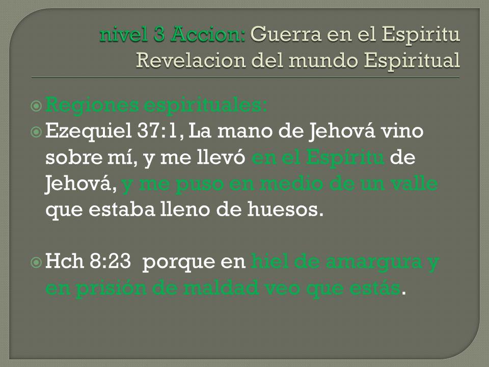 Regiones espirituales: Ezequiel 37:1, La mano de Jehová vino sobre mí, y me llevó en el Espíritu de Jehová, y me puso en medio de un valle que estaba lleno de huesos.