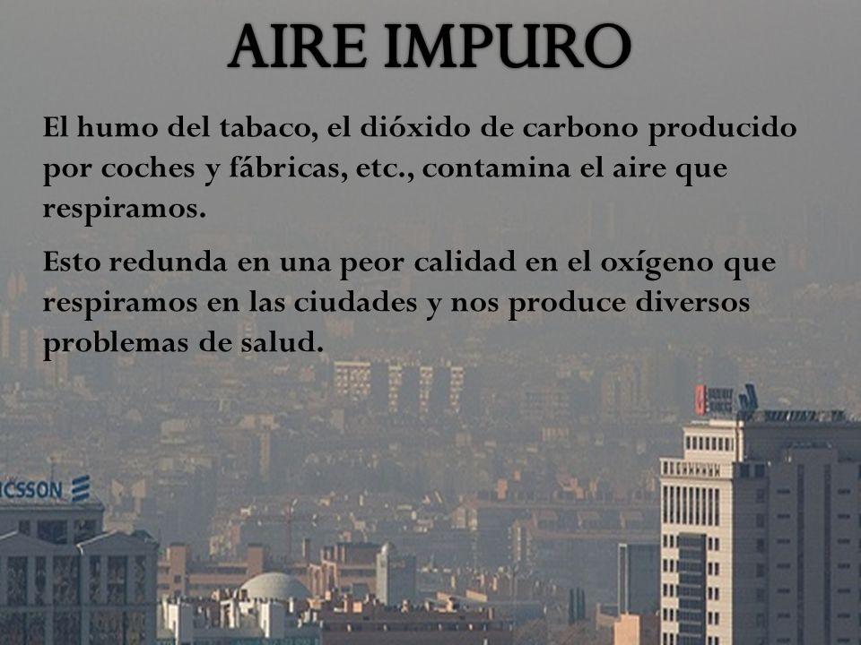 El humo del tabaco, el dióxido de carbono producido por coches y fábricas, etc., contamina el aire que respiramos.