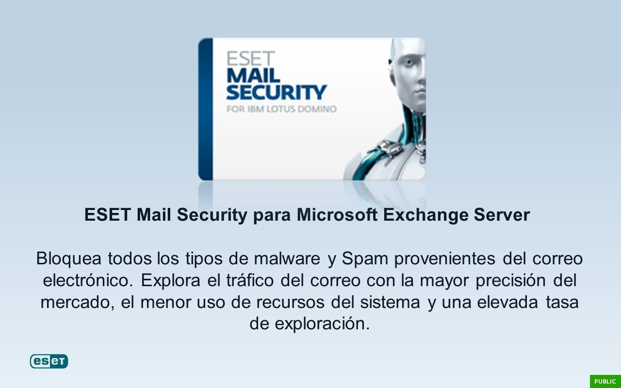 ESET Mail Security para Microsoft Exchange Server Bloquea todos los tipos de malware y Spam provenientes del correo electrónico. Explora el tráfico de