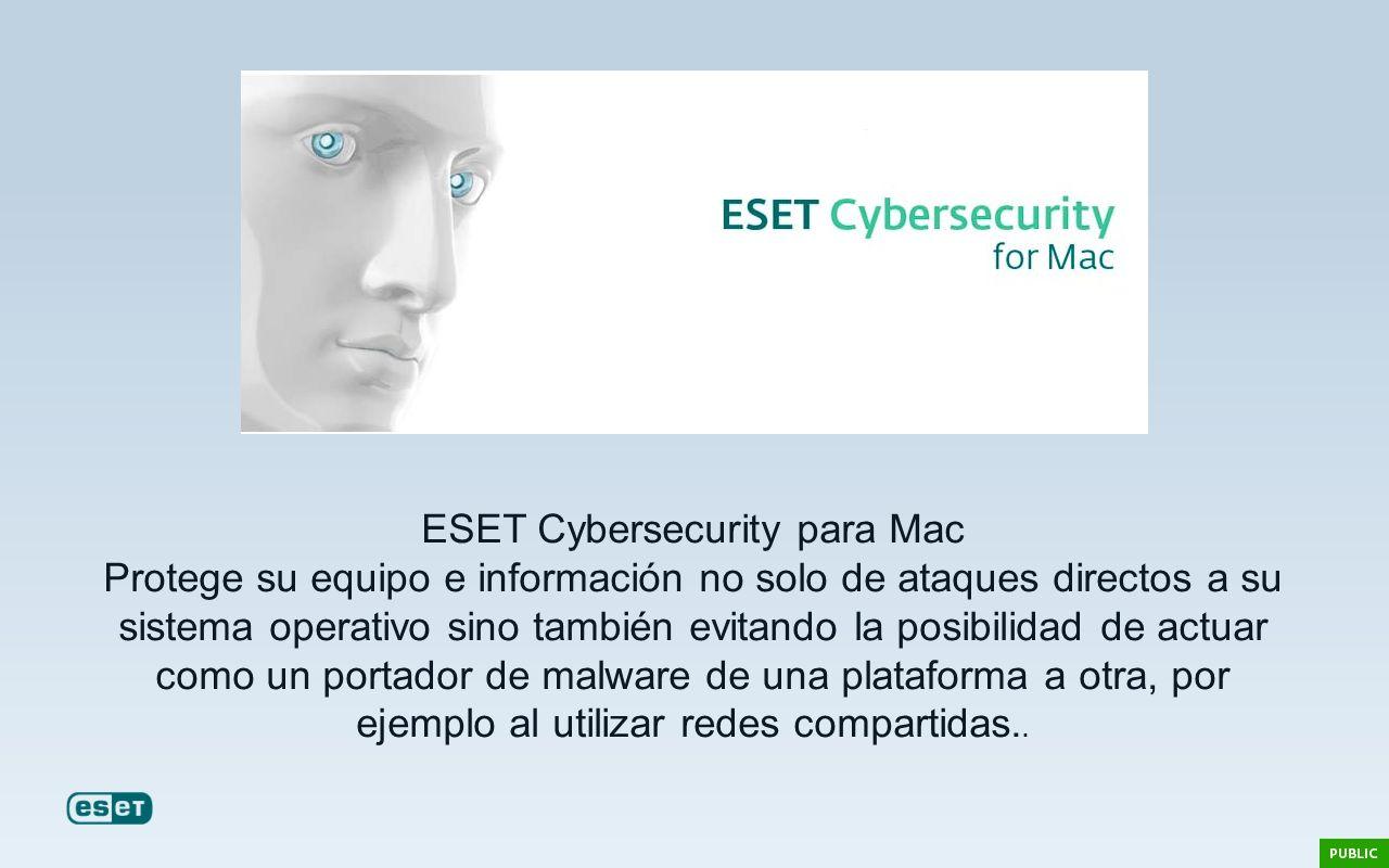 ESET Cybersecurity para Mac Protege su equipo e información no solo de ataques directos a su sistema operativo sino también evitando la posibilidad de