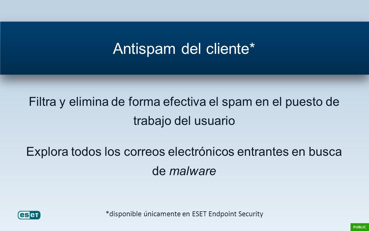 Filtra y elimina de forma efectiva el spam en el puesto de trabajo del usuario Explora todos los correos electrónicos entrantes en busca de malware An