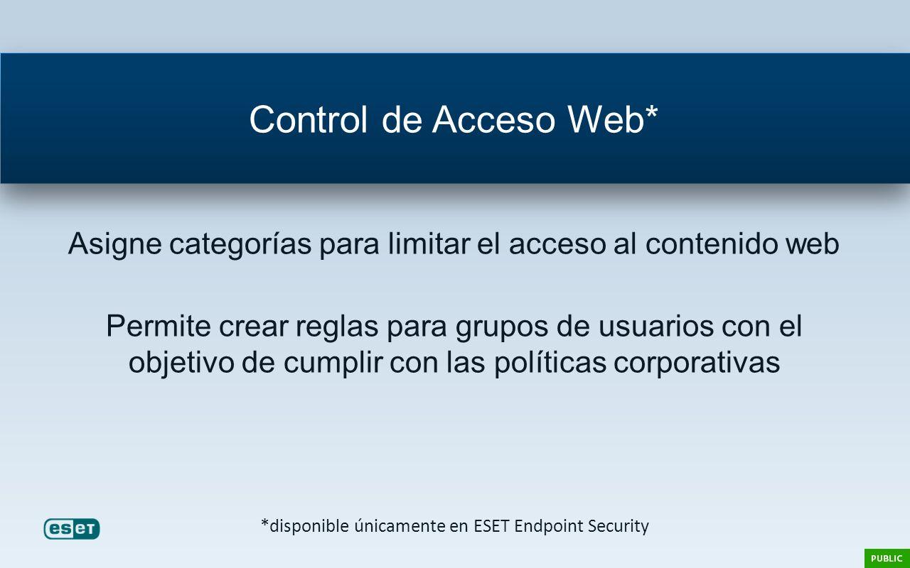 Asigne categorías para limitar el acceso al contenido web Permite crear reglas para grupos de usuarios con el objetivo de cumplir con las políticas co