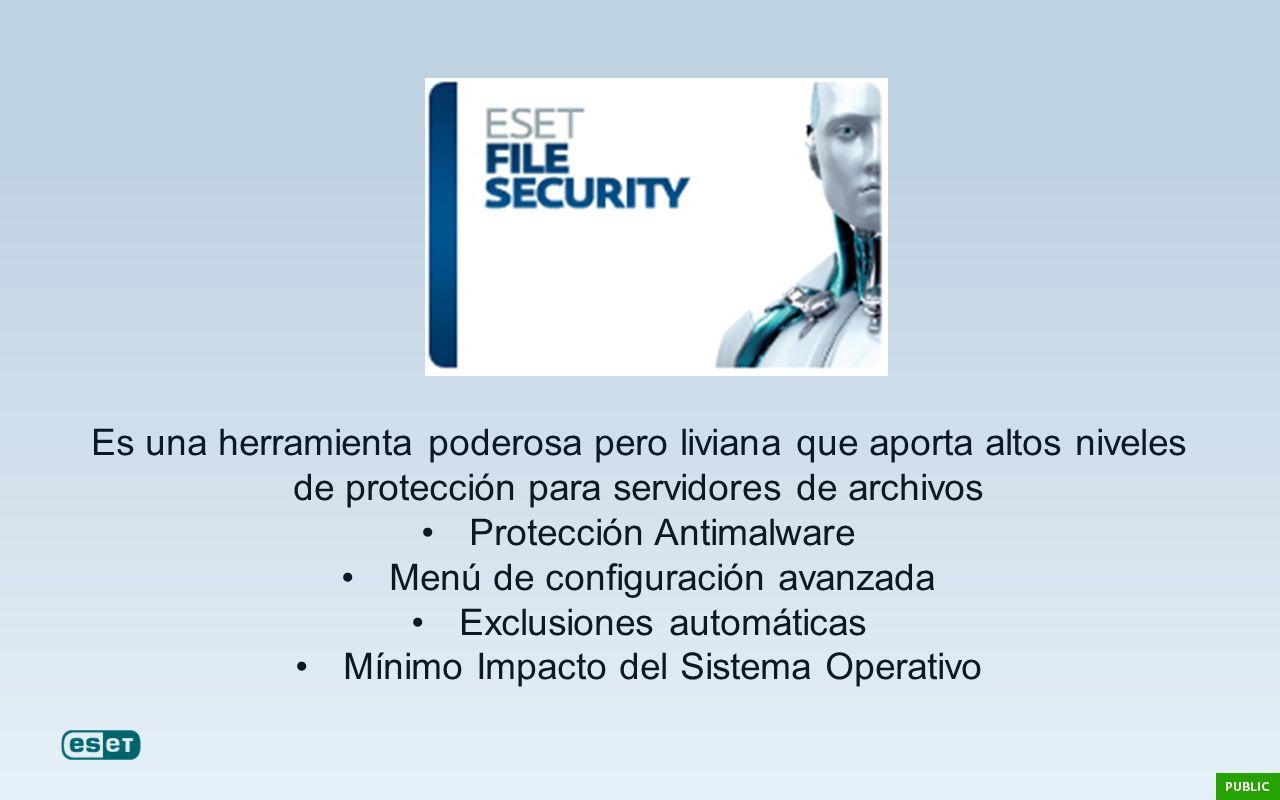 Es una herramienta poderosa pero liviana que aporta altos niveles de protección para servidores de archivos Protección Antimalware Menú de configuraci