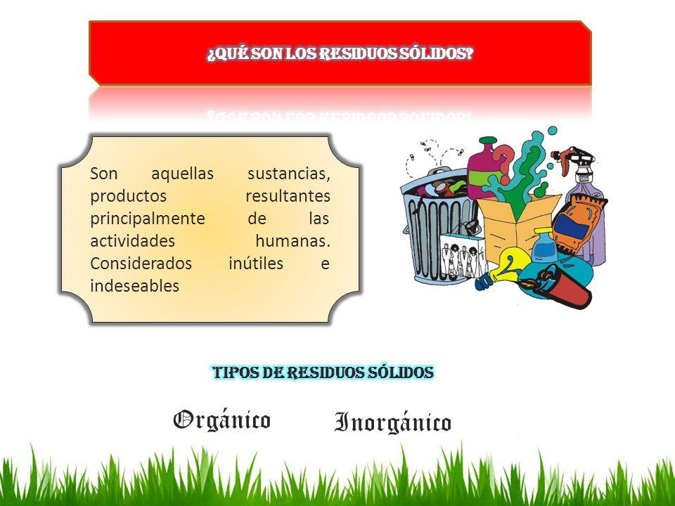 Son aquellas sustancias, productos resultantes principalmente de las actividades humanas. Considerados inútiles e indeseables Orgánico Inorgánico