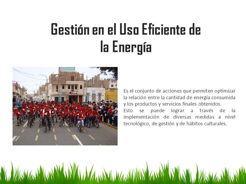 Gestión en el Uso Eficiente de la Energía Es el conjunto de acciones que permiten optimizar la relación entre la cantidad de energía consumida y los p