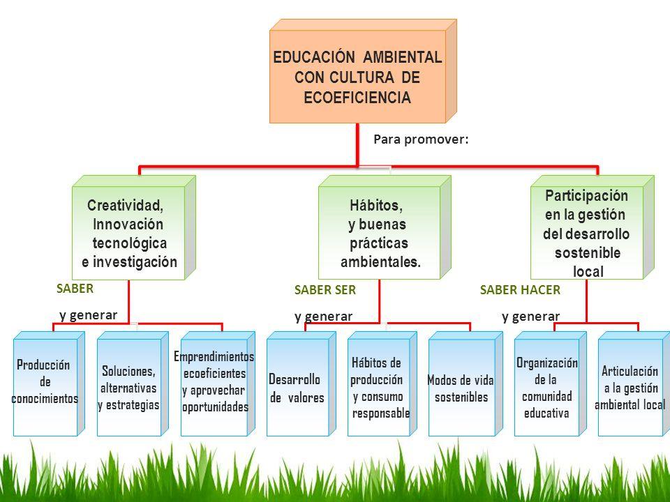 EDUCACIÓN AMBIENTAL CON CULTURA DE ECOEFICIENCIA Creatividad, Innovación tecnológica e investigación Hábitos, y buenas prácticas ambientales. Particip