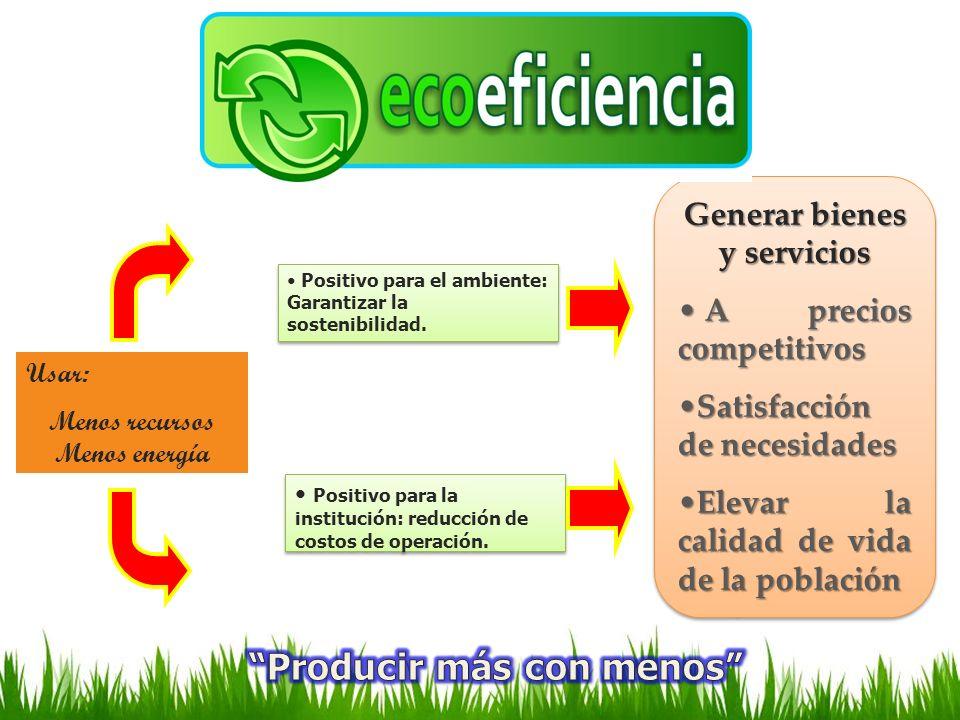 Usar: Menos recursos Menos energía Positivo para el ambiente: Garantizar la sostenibilidad. Positivo para la institución: reducción de costos de opera