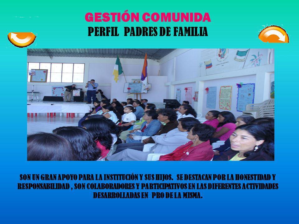 GESTIÓN COMUNIDAD PERFIL ESTUDIANTES El estudiante de la Institución, será una persona de calidades decir: responsable, honesta, solidaria, justa y le
