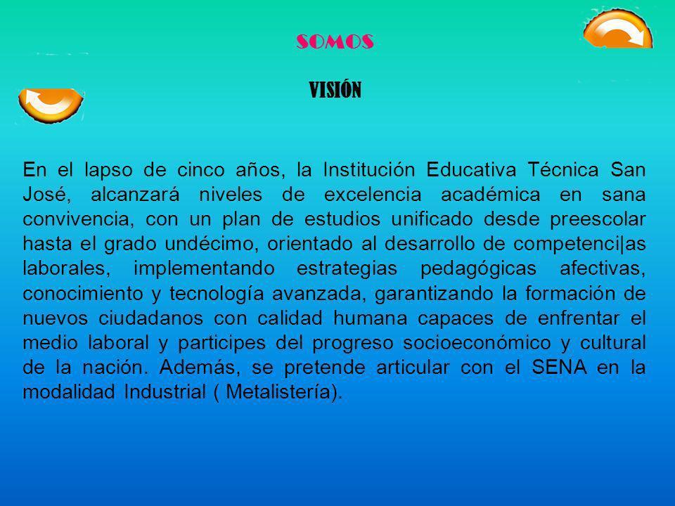 SOMOS MISIÓN La Institución Educativa Técnica San José, de carácter Técnico Industrial: Metalmecánica y Promoción Social: Comunidad, vela por la forma
