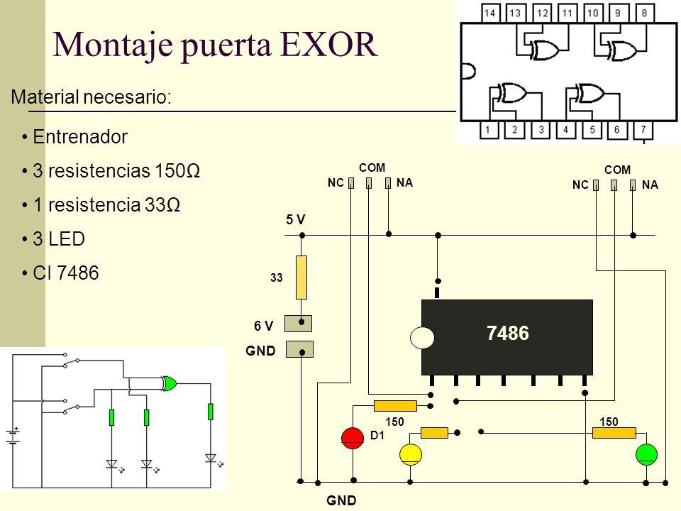 GND 6 V GND 5 V Entrenador 3 resistencias 150 1 resistencia 33 3 LED CI 7486 NANC COM NANC COM 7486 D1 150 Montaje puerta EXOR Material necesario: 33