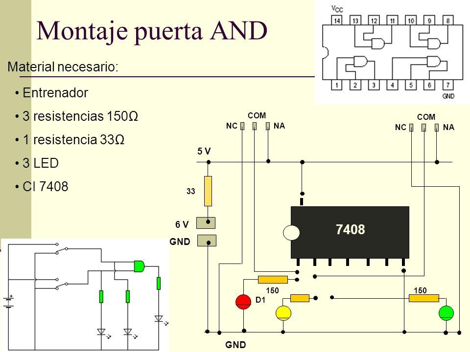Puertas lógicas Símbolo: Tabla verdad: Símil eléctrico: Circuito integrado: 7432 Función OR : En esta puerta tenemos un 1 lógico (5v) en la salida cuando tenemos al menos un 1 lógico en una de las entradas.