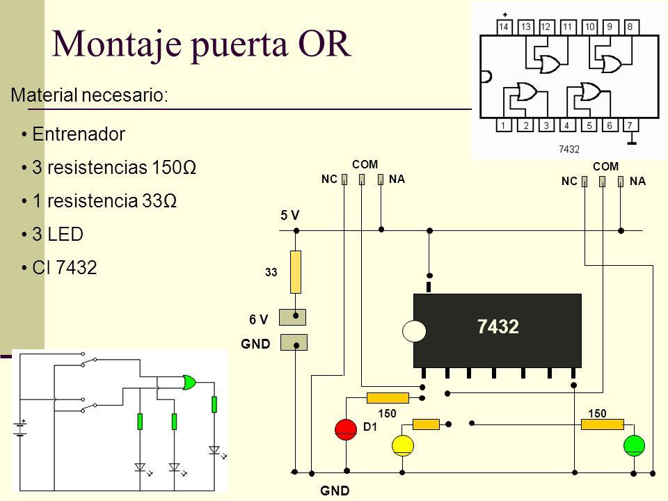 GND 6 V GND 5 V Montaje puerta OR Material necesario: Entrenador 3 resistencias 150 1 resistencia 33 3 LED CI 7432 NANC COM NANC COM 33 7432 D1 150