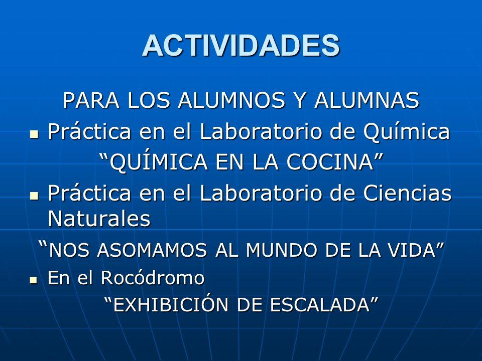 ACTIVIDADES PARA LOS ALUMNOS Y ALUMNAS Práctica en el Laboratorio de Química Práctica en el Laboratorio de Química QUÍMICA EN LA COCINA Práctica en el