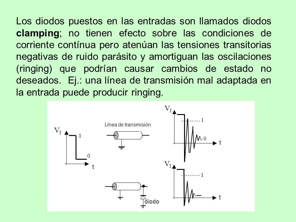 Los diodos puestos en las entradas son llamados diodos clamping; no tienen efecto sobre las condiciones de corriente contínua pero atenúan las tension
