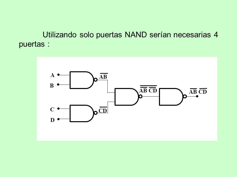 Utilizando solo puertas NAND serían necesarias 4 puertas : AB CD AB CD A B C D