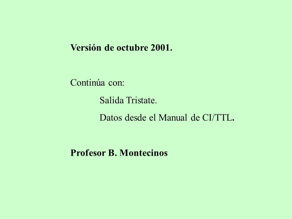 Versión de octubre 2001. Continúa con: Salida Tristate. Datos desde el Manual de CI/TTL. Profesor B. Montecinos