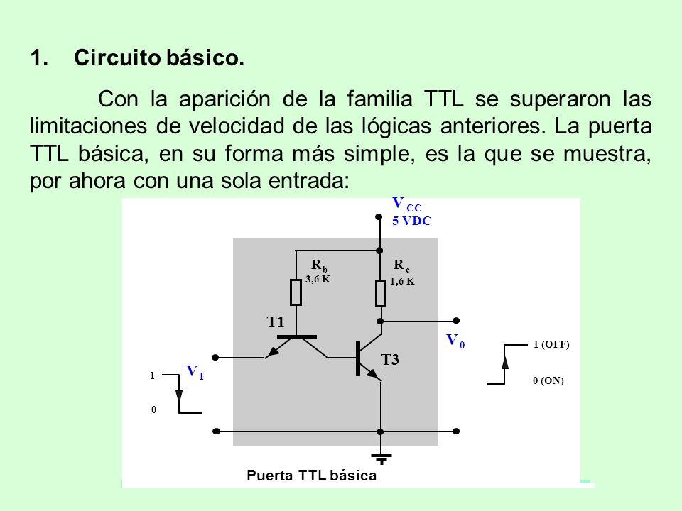 1. Circuito básico. Con la aparición de la familia TTL se superaron las limitaciones de velocidad de las lógicas anteriores. La puerta TTL básica, en