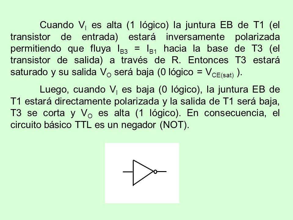 Cuando V I es alta (1 lógico) la juntura EB de T1 (el transistor de entrada) estará inversamente polarizada permitiendo que fluya I B3 = I B1 hacia la