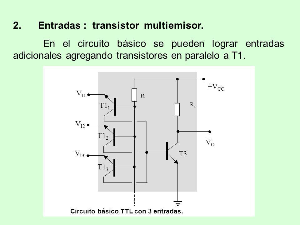 2. Entradas : transistor multiemisor. En el circuito básico se pueden lograr entradas adicionales agregando transistores en paralelo a T1. +V CC R RcR