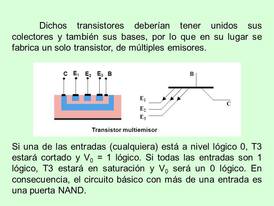 Dichos transistores deberían tener unidos sus colectores y también sus bases, por lo que en su lugar se fabrica un solo transistor, de múltiples emiso