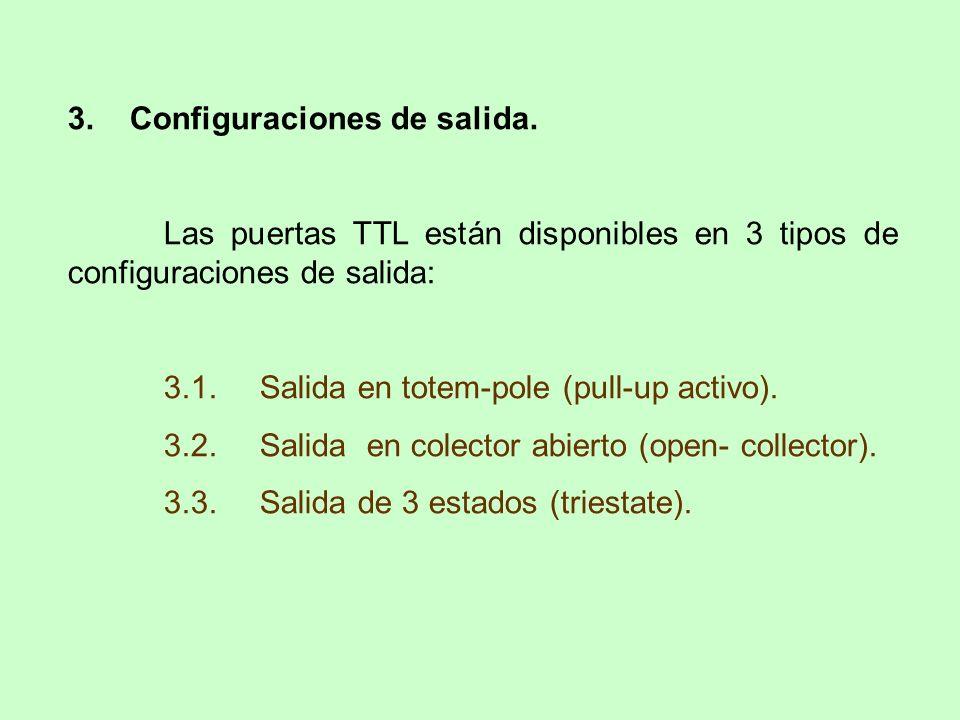 3. Configuraciones de salida. Las puertas TTL están disponibles en 3 tipos de configuraciones de salida: 3.1.Salida en totem-pole (pull-up activo). 3.