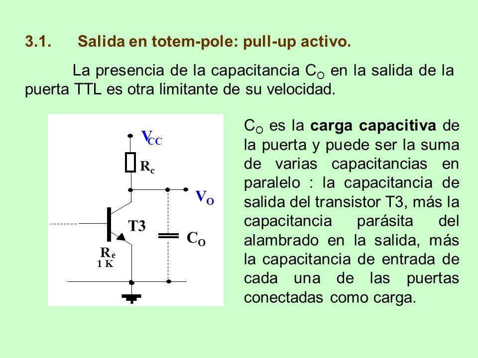 3.1. Salida en totem-pole: pull-up activo. La presencia de la capacitancia C O en la salida de la puerta TTL es otra limitante de su velocidad. C O es