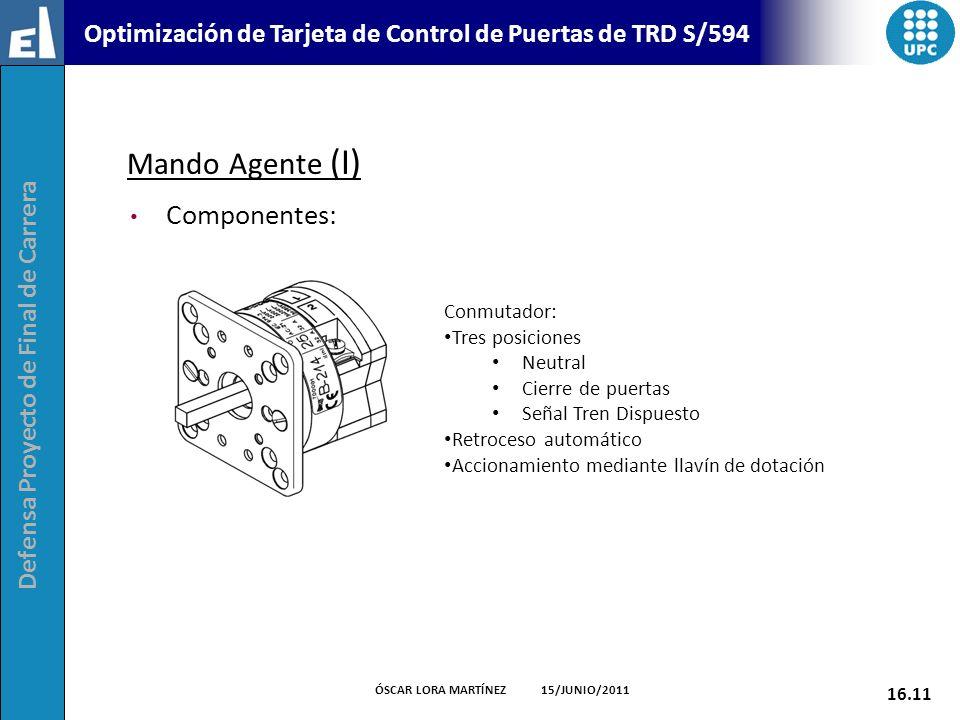 Defensa Proyecto de Final de Carrera 16.11 ÓSCAR LORA MARTÍNEZ 15/JUNIO/2011 Optimización de Tarjeta de Control de Puertas de TRD S/594 Mando Agente (