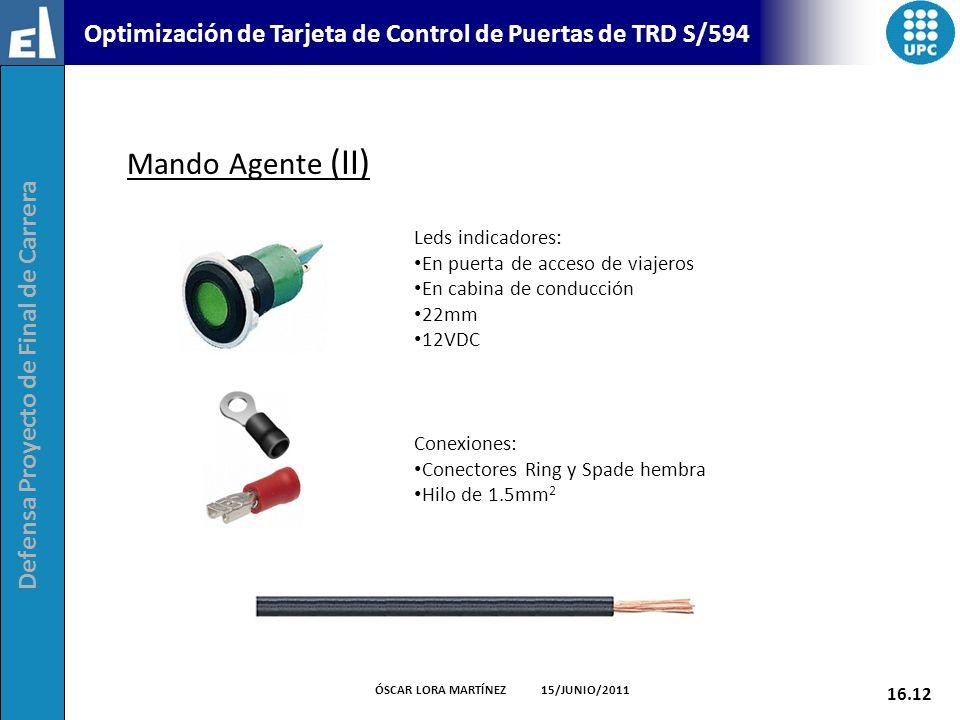 Defensa Proyecto de Final de Carrera 16.12 ÓSCAR LORA MARTÍNEZ 15/JUNIO/2011 Optimización de Tarjeta de Control de Puertas de TRD S/594 Mando Agente (
