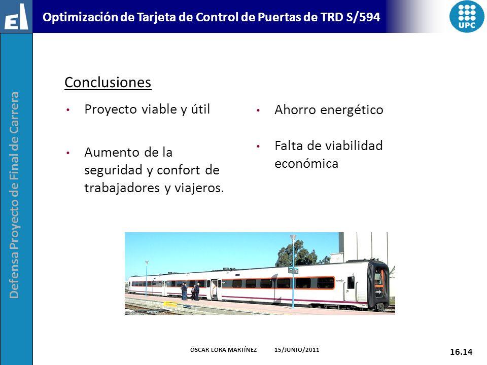 Defensa Proyecto de Final de Carrera 16.14 ÓSCAR LORA MARTÍNEZ 15/JUNIO/2011 Optimización de Tarjeta de Control de Puertas de TRD S/594 Conclusiones P