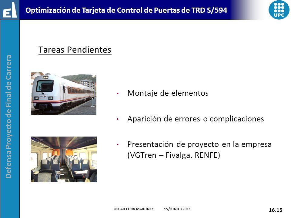 Defensa Proyecto de Final de Carrera 16.15 ÓSCAR LORA MARTÍNEZ 15/JUNIO/2011 Optimización de Tarjeta de Control de Puertas de TRD S/594 Tareas Pendien
