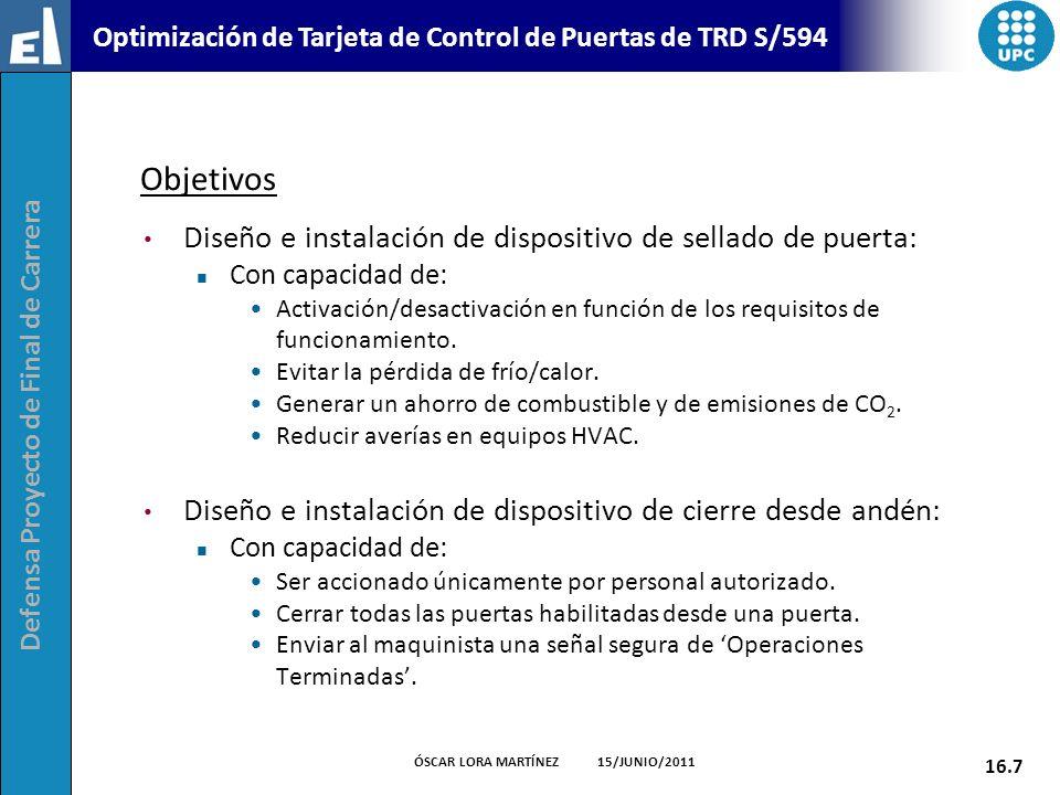 Defensa Proyecto de Final de Carrera 16.7 ÓSCAR LORA MARTÍNEZ 15/JUNIO/2011 Optimización de Tarjeta de Control de Puertas de TRD S/594 Objetivos Diseñ