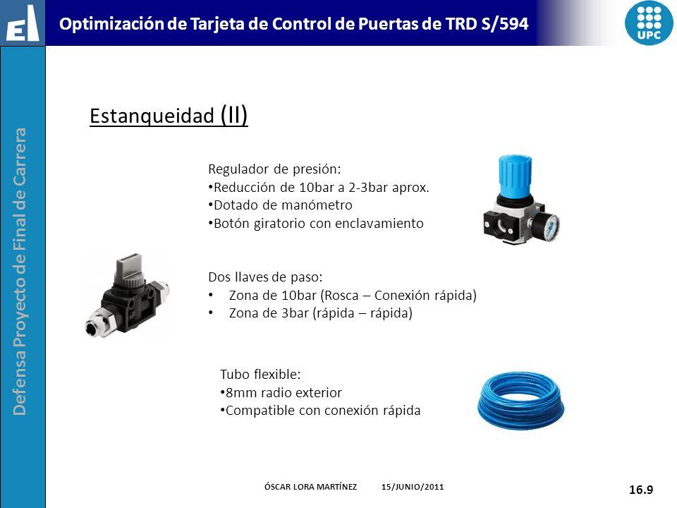 Defensa Proyecto de Final de Carrera 16.9 ÓSCAR LORA MARTÍNEZ 15/JUNIO/2011 Optimización de Tarjeta de Control de Puertas de TRD S/594 Estanqueidad (I