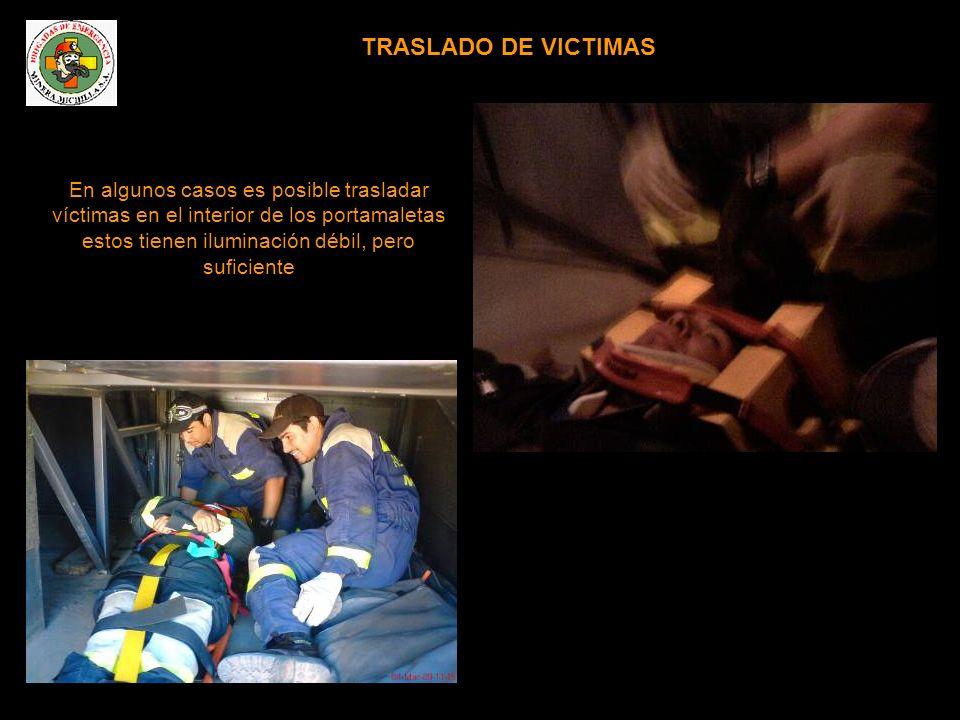 En algunos casos es posible trasladar víctimas en el interior de los portamaletas estos tienen iluminación débil, pero suficiente TRASLADO DE VICTIMAS