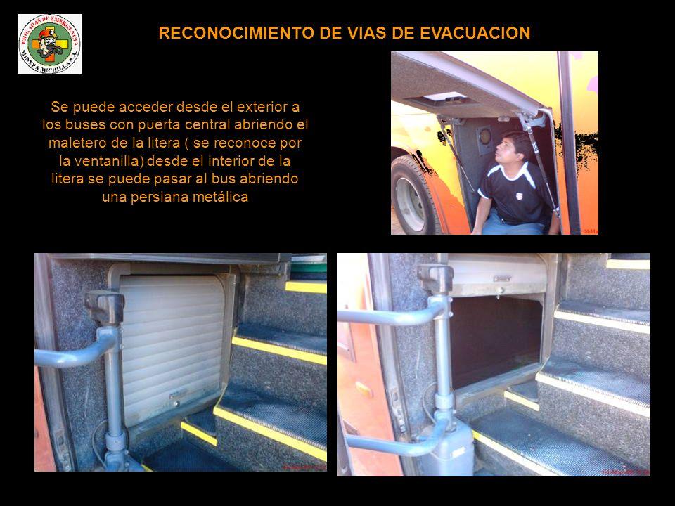 RECONOCIMIENTO DE VIAS DE EVACUACION Se puede acceder desde el exterior a los buses con puerta central abriendo el maletero de la litera ( se reconoce por la ventanilla) desde el interior de la litera se puede pasar al bus abriendo una persiana metálica