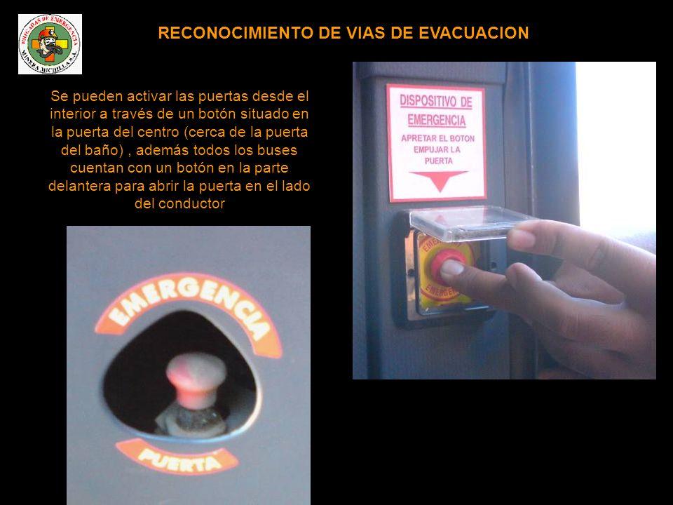 RECONOCIMIENTO DE VIAS DE EVACUACION Se pueden activar las puertas desde el interior a través de un botón situado en la puerta del centro (cerca de la puerta del baño), además todos los buses cuentan con un botón en la parte delantera para abrir la puerta en el lado del conductor