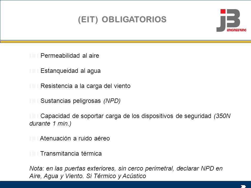 (EIT) OBLIGATORIOS Permeabilidad al aire Estanqueidad al agua Resistencia a la carga del viento Sustancias peligrosas (NPD) Capacidad de soportar carg
